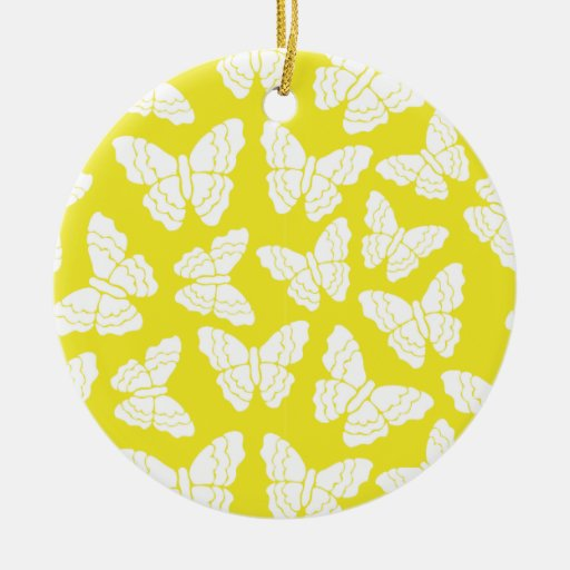 Ornamento amarillo de las mariposas adorno redondo de cerámica