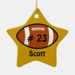 Ornamento amarillo de oro de la estrella de fútbol ornamentos de reyes magos