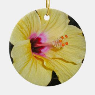 Ornamento amarillo grande asombroso de la flor adornos de navidad