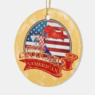 Ornamento americano croata orgulloso del navidad adorno redondo de cerámica