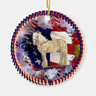 Ornamento americano de la belleza adorno navideño redondo de cerámica