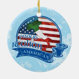 Ornamento americano italiano orgulloso del navidad adorno navideño redondo de cerámica