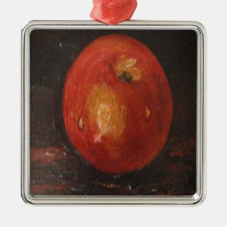 Ornamento Ana Hayes que pinta Apple Adorno Navideño Cuadrado De Metal