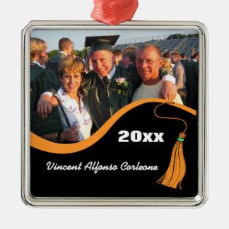 Ornamento anaranjado adaptable de la graduación de adorno navideño cuadrado de metal