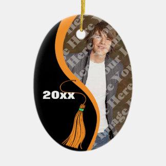 Ornamento anaranjado adaptable de la graduación de adorno navideño ovalado de cerámica