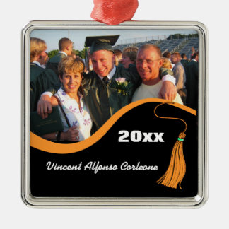 Ornamento anaranjado adaptable de la graduación de adorno cuadrado plateado