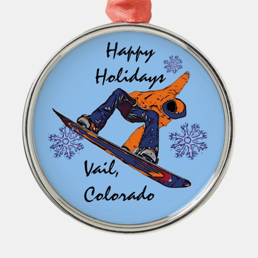 Ornamento anaranjado azul del snowboarder de Vail Adorno Redondo Plateado