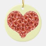 Ornamento anaranjado del corazón de los claveles ornamento para arbol de navidad