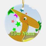 Ornamento anaranjado del dinosaurio de adorno de navidad