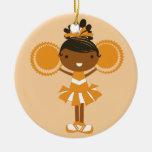 Ornamento anaranjado del recuerdo de la animadora  ornamento para arbol de navidad