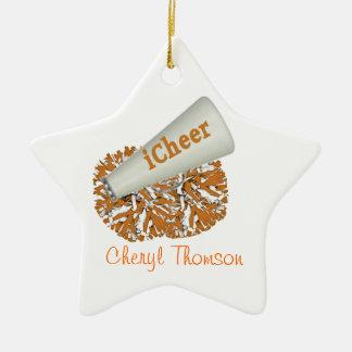 Ornamento anaranjado y blanco de la animadora ornamento para reyes magos