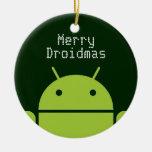 Ornamento androide adorno navideño redondo de cerámica
