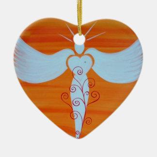 """Ornamento """"ángel para parejas de alma """" adorno navideño de cerámica en forma de corazón"""