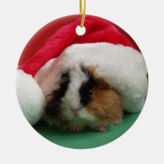 Ornamento animal del navidad del conejillo de adorno redondo de cerámica