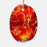 """Ornamento """"Anjos de Natal"""" Adorno Navideño Ovalado De Cerámica"""