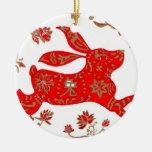 Ornamento, año chino del conejo adorno navideño redondo de cerámica