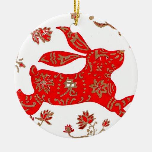 Ornamento, año chino del conejo ornamento para arbol de navidad
