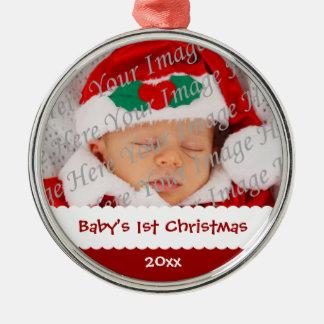 Ornamento anticuado de la foto del 1r navidad del adorno navideño redondo de metal