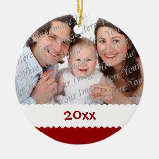 Ornamento anticuado de la foto del navidad adorno redondo de cerámica