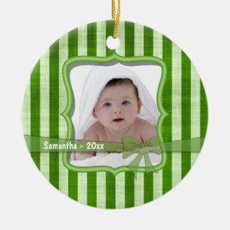 Ornamento anticuado de la foto del recuerdo de las adorno navideño redondo de cerámica