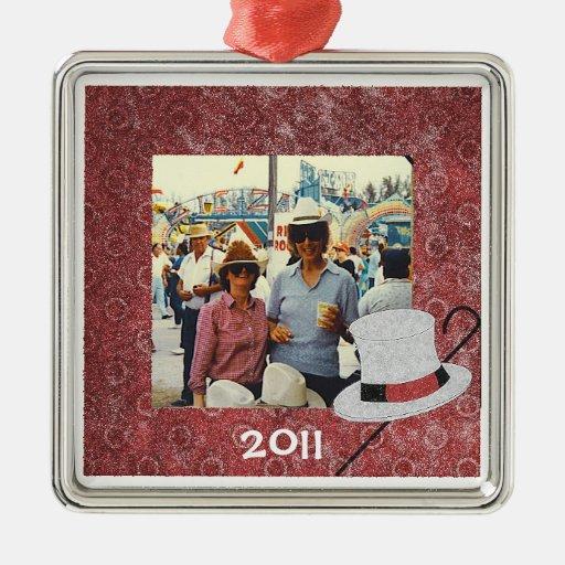 Ornamento anticuado del navidad de la foto del adorno navideño cuadrado de metal
