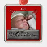 Ornamento anticuado del navidad de la foto del beb ornamentos para reyes magos