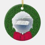 Ornamento anticuado del navidad del barco de cruce adorno