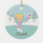 Ornamento anticuado del navidad del chica del pati adornos