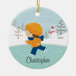 Ornamento anticuado del navidad del muchacho del p adorno de reyes