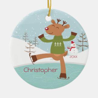 Ornamento anticuado del navidad del reno del patin adorno para reyes