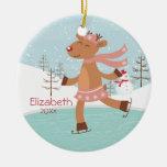 Ornamento anticuado del navidad del reno del patin ornato