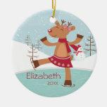 Ornamento anticuado del navidad del reno del patin ornamento de navidad