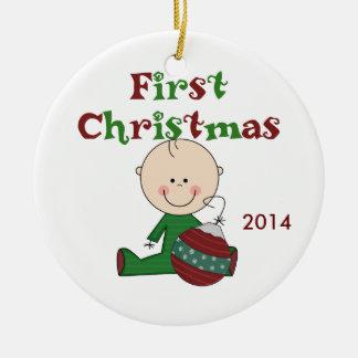 Ornamento anticuado del primer navidad del bebé adorno redondo de cerámica