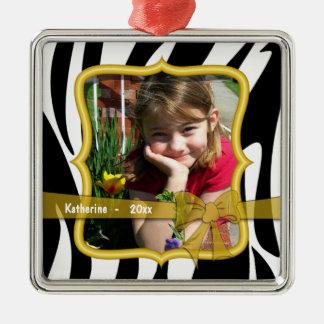 Ornamento anticuado del recuerdo de la foto del adorno navideño cuadrado de metal