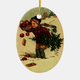 Ornamento antiguo del ejemplo del navidad adorno navideño ovalado de cerámica