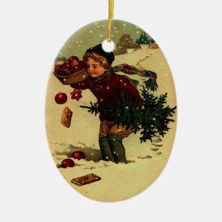 Ornamento antiguo del ejemplo del navidad adorno ovalado de cerámica