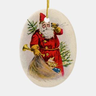 Ornamento antiguo del navidad de Santa del estilo Adorno Ovalado De Cerámica