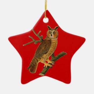 Ornamento antiguo del navidad del búho del estilo adorno de cerámica en forma de estrella