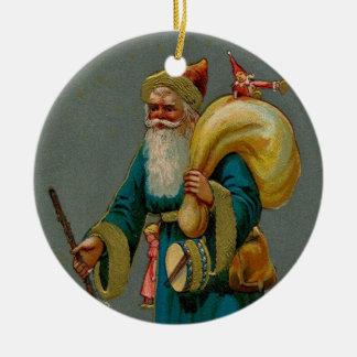 Ornamento antiguo del navidad del ejemplo de Santa Adorno Redondo De Cerámica