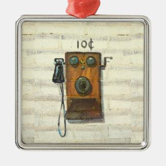 ornamento antiguo del teléfono de la pared adorno navideño cuadrado de metal