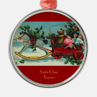 Ornamento antiguo expreso del ejemplo de Papá Noel Adorno Redondo Plateado