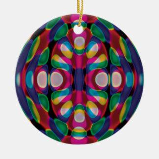 Ornamento aplastado de los bolos adorno navideño redondo de cerámica