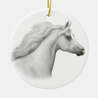 Ornamento árabe blanco del caballo adorno navideño redondo de cerámica