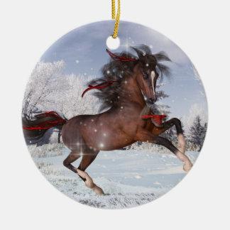 Ornamento árabe del caballo del navidad adorno navideño redondo de cerámica