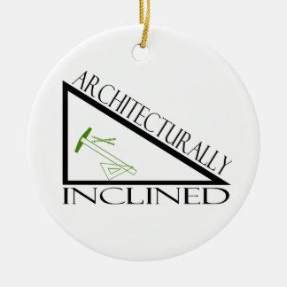 Ornamento arquitectónico inclinado adorno navideño redondo de cerámica