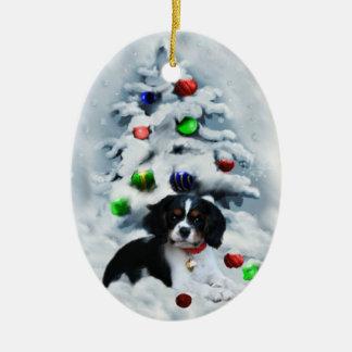 Ornamento arrogante del navidad del perro de aguas adornos