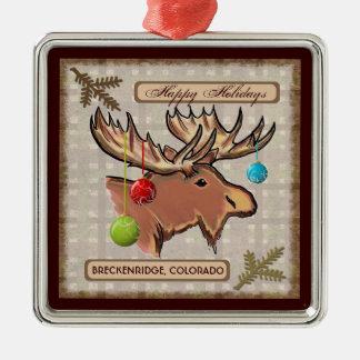 Ornamento artístico de los alces de Breckenridge C Ornamento Para Arbol De Navidad