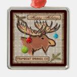 Ornamento artístico de los alces de Steamboat Ornamento Para Arbol De Navidad