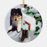 Ornamento áspero de los regalos del navidad del pe adorno