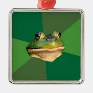 Ornamento asqueroso de encargo de la rana del adorno navideño cuadrado de metal
